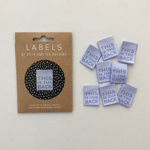"""This Is The Back"" Woven Labels 8 pack"