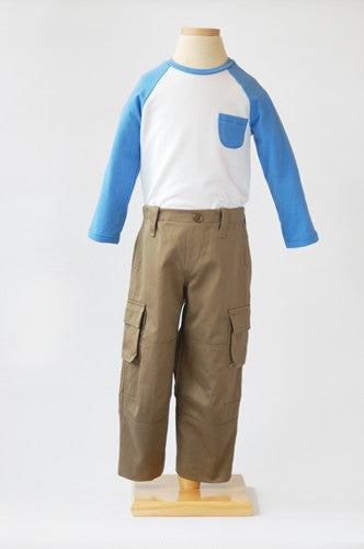 field trip cargo pants + raglan t-shirt sewing pattern size 6M - 4