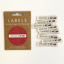 """Sewing Is My Jam"" Woven Labels 8 Pack"