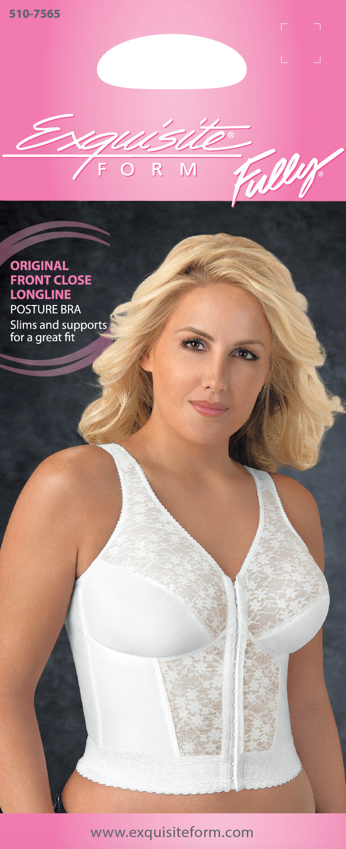 FULLY® Front Close Longline Posture Bra with Lace