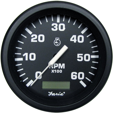 "Faria 4"" HD Tachometer w/Hourmeter (6000 RPM) - Gas - Black [43004]"