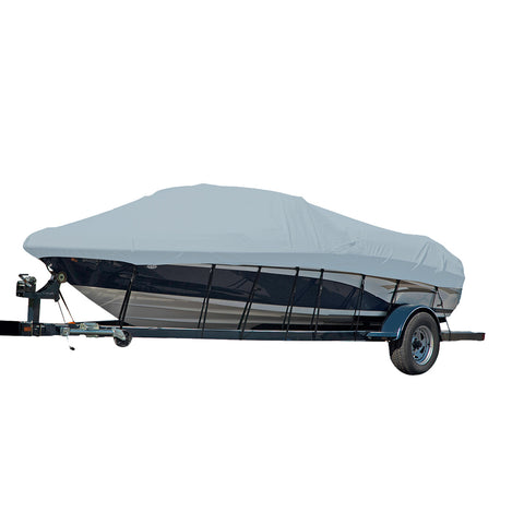 Carver Performance Poly-Guard Styled-to-Fit Boat Cover f/18.5 Sterndrive V-Hull Runabout Boats (Including Eurostyle) w/Windshield  Hand/Bow Rails - Grey [77118P-10]