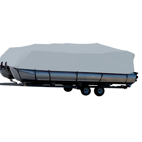 Carver Performance Poly-Guard Styled-to-Fit Boat Cover f/16.5 Pontoons w/Bimini Top  Rails - Grey [77516P-10]