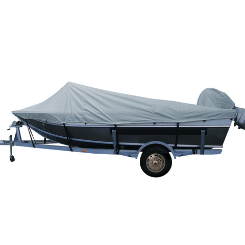 Carver Performance Poly-Guard Styled-to-Fit Boat Cover f/18.5 Aluminum Boats w/High Forward Mounted Windshield - Grey [79018P-10]