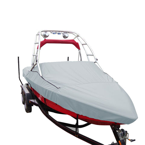 Carver Performance Poly-Guard Specialty Boat Cover f/24.5 Sterndrive V-Hull Runabouts w/Tower - Grey [97124P-10]