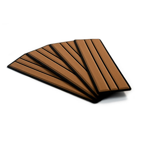 "SeaDek Brushed 6mm 4-Piece Step Kit - 3.75"" x 12.75"" - Mocha/Black Faux Teak [23902-80093]"