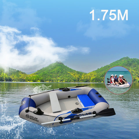 175cm PVC Boat  Wear-resistant 2-Person Inflatables Kayak Fishing Boat + Air Deck Bottom + E-Motor for Outdoor Fishing