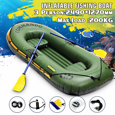249x127cm 3 Person Inflatable Rowing Boat Bearing 200kg Durable PVC Rubber Fishing Boat Set with Paddles Pump Other Set
