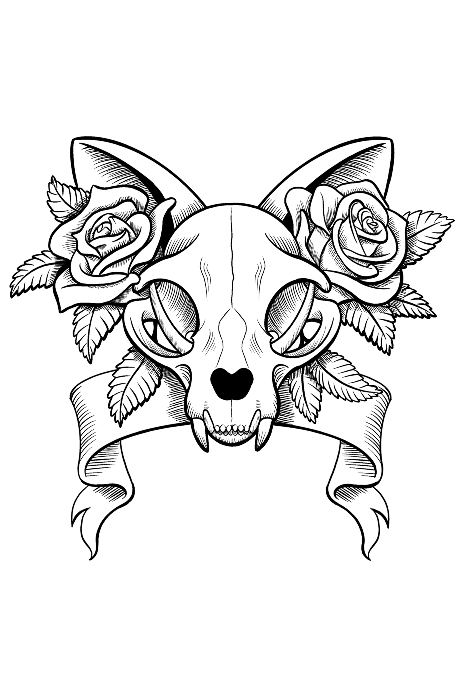 Kitty skull w/ roses by Muccikins