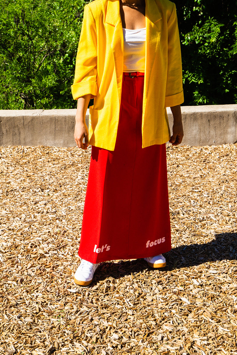 """Let's Focus on Something"" Cherry Red Maxi Skirt - Brick by Brick"
