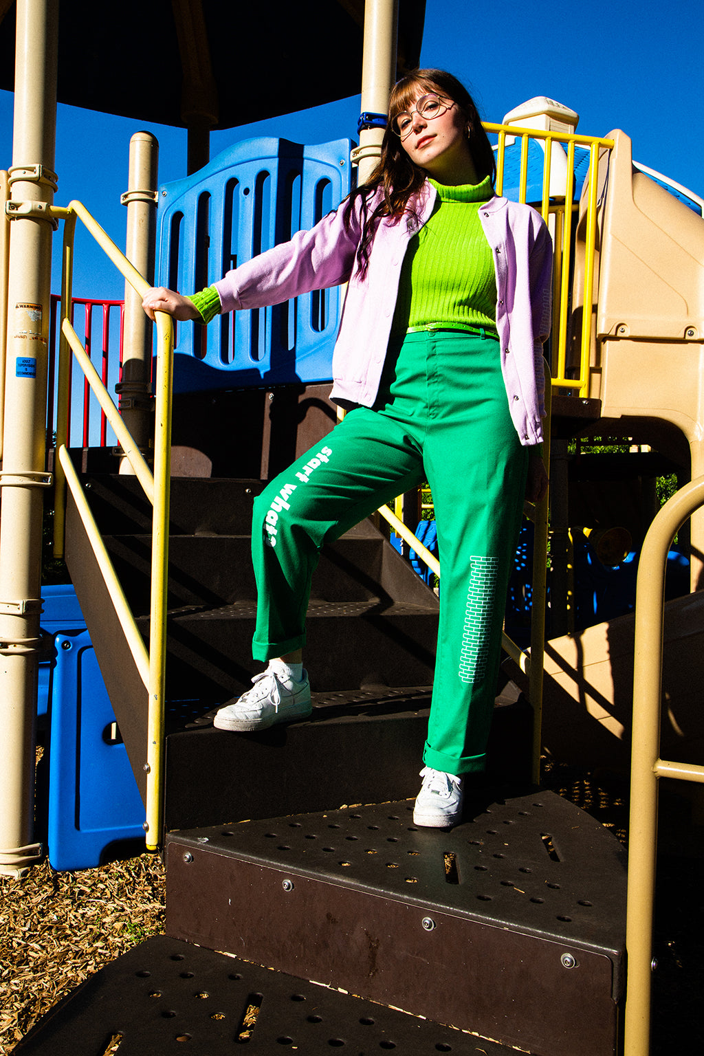 """Start What"" Green Grass High Waisted Trousers - Brick by Brick"