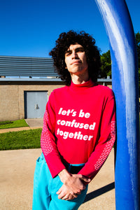 """Let's Be Confused Together"" Magenta Long Sleeved Turtleneck - Brick by Brick"