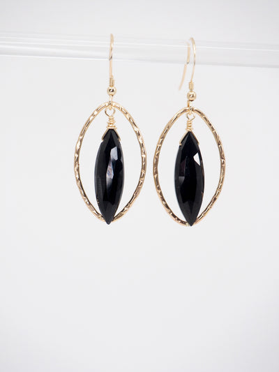 Black Almond Earrings