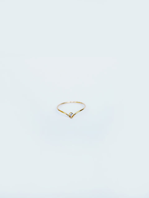 Chevron with Cubic Zirconia Stacking Ring