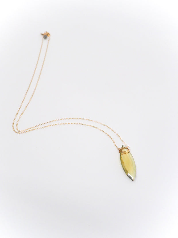 Long Olive Solitaire Necklace