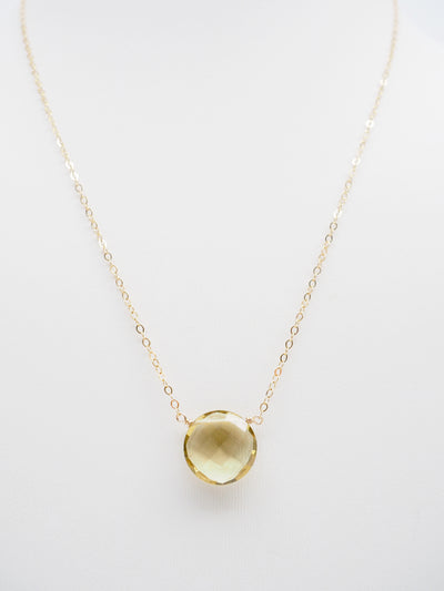 Single Lemon Citrine Necklace
