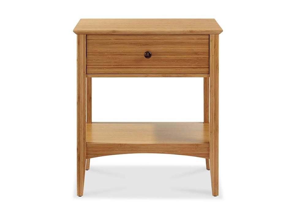 Eco Ridge by Greenington Modern and Sustainable Willow Bamboo Bedroom 1 Drawer Nightstand in Caramelized Finish