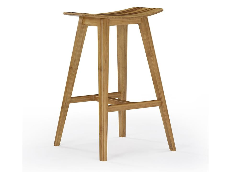 Eco Ridge by Greenington Modern and Sustainable Tigris Solid Bamboo Counter Height Stool in Caramelized Finish with Exotic Tiger Seat Accent