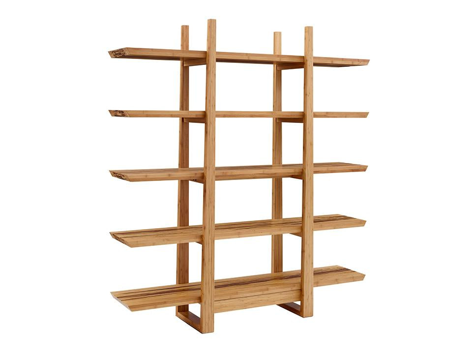 Greenington's Modern and Sustainable Magnolia Solid Bamboo Shelf in Caramelized Finish with Exotic Tiger Accent
