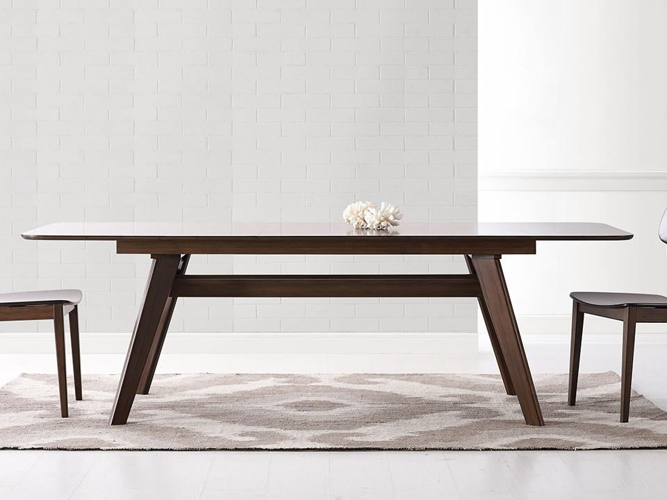 Greenington's Modern and Sustainable Currant Solid Bamboo Extension Dining Table in Black Walnut Finish