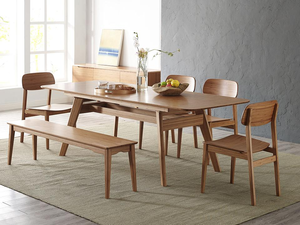 Greenington's Modern and Sustainable Currant Solid Bamboo Extension Dining Table in Caramelized Finish