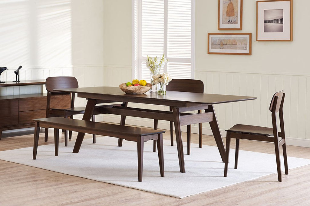 Greenington's Modern and Sustainable Currant Solid Bamboo Dining Long Bench in Black Walnut Finish