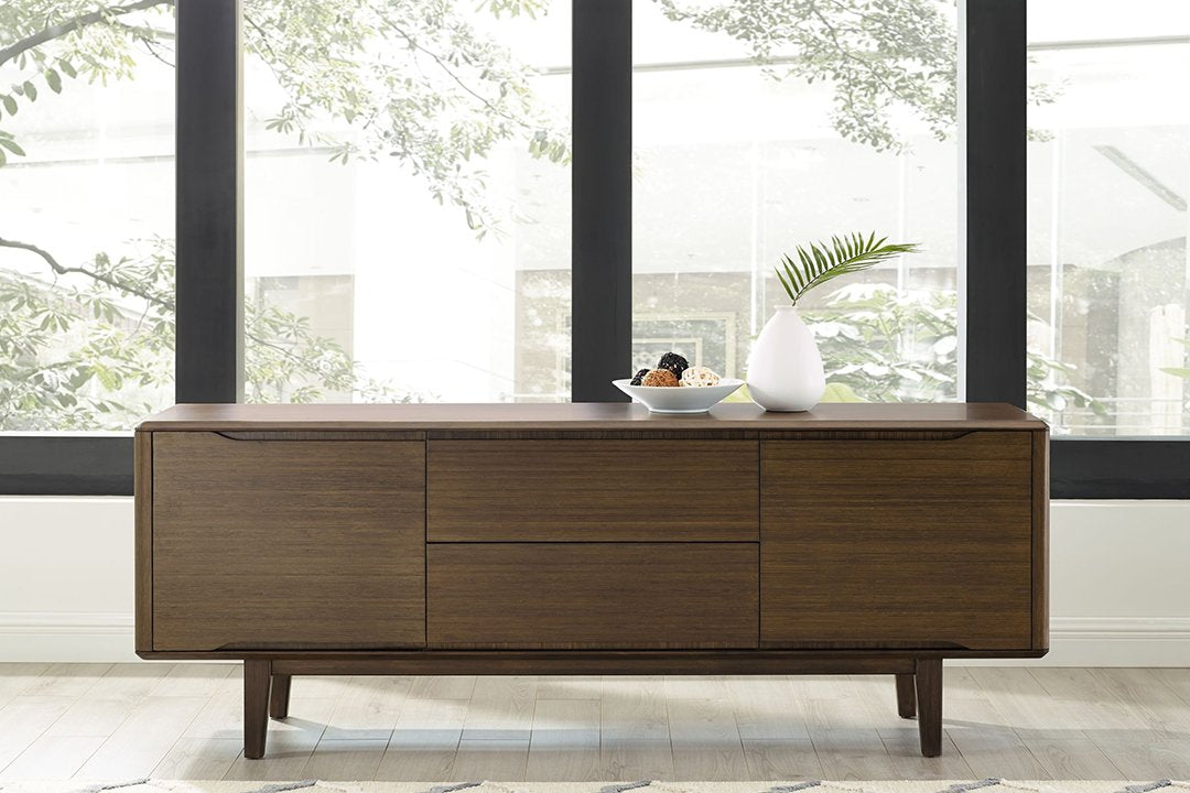 Greenington's Modern and Sustainable Currant Solid Bamboo Dining Sideboard Buffet Media Center in Black Walnut Finish