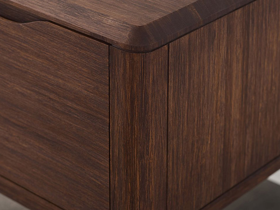 Greenington's Modern and Sustainable Currant Solid Bamboo Bedroom 1 Drawer Nightstand in Oiled Walnut Finish