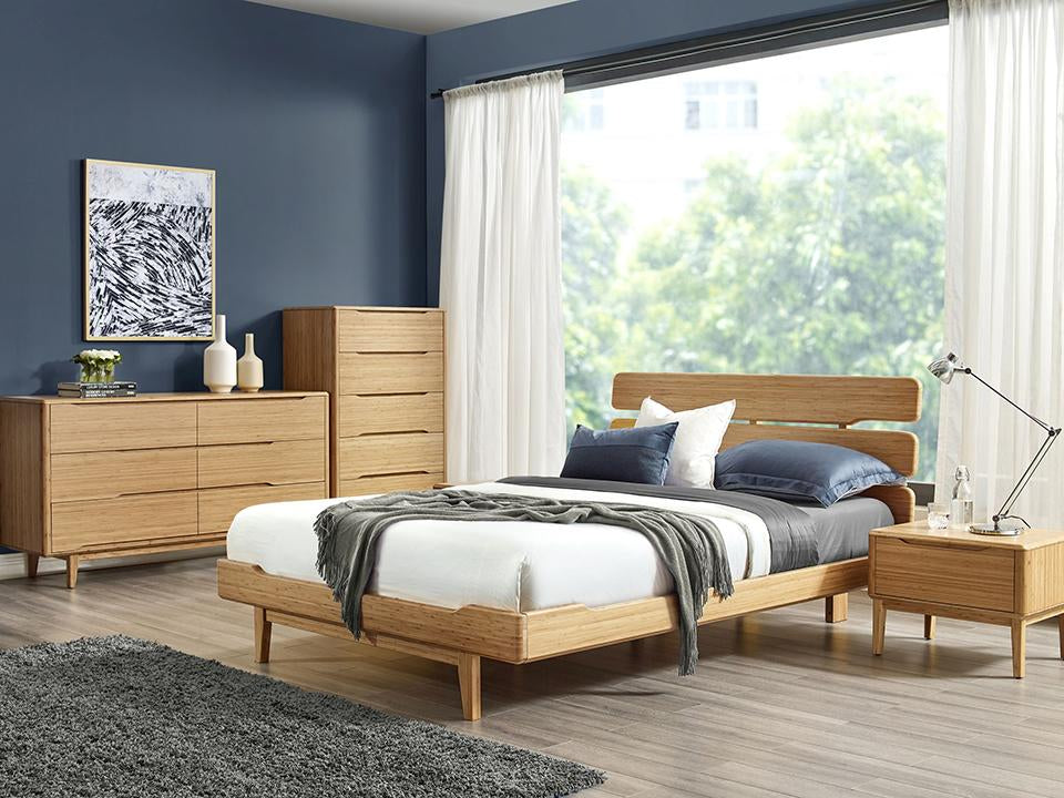 Greenington's Modern and Sustainable Currant Solid Bamboo Bedroom 5 Drawer High Chest in Caramelized Finish
