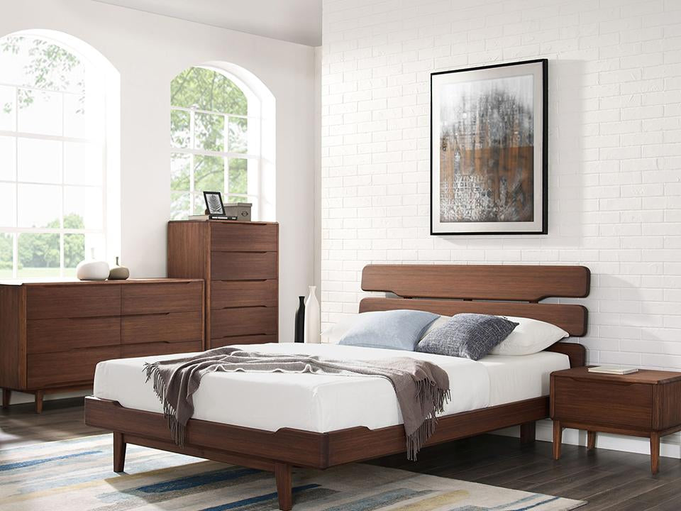 Greenington's Modern and Sustainable Currant Solid Bamboo Bedroom 5 Drawer High Chest in Oiled Walnut Finish