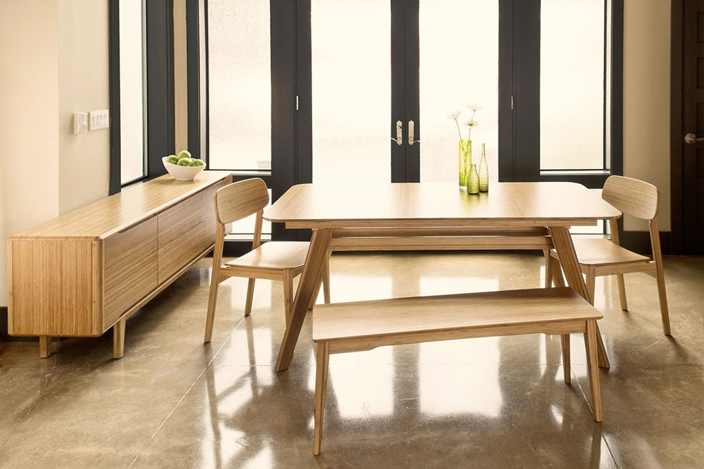 Greenington's Modern and Sustainable Currant Solid Bamboo Dining Short Bench in Caramelized Finish