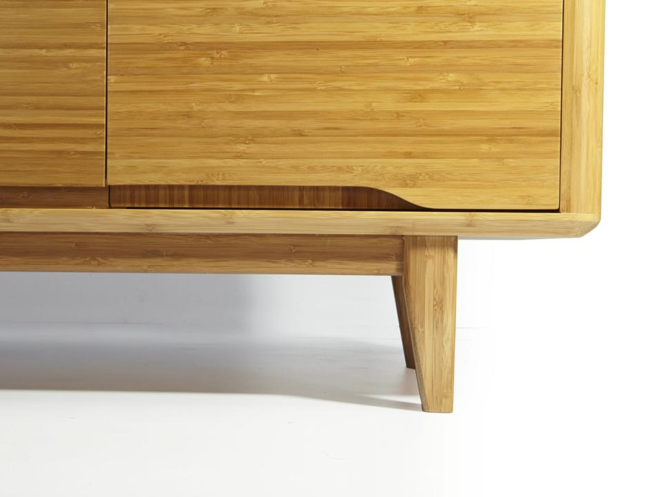 Greenington's Modern and Sustainable Currant Solid Bamboo Media Table in Caramelized Finish
