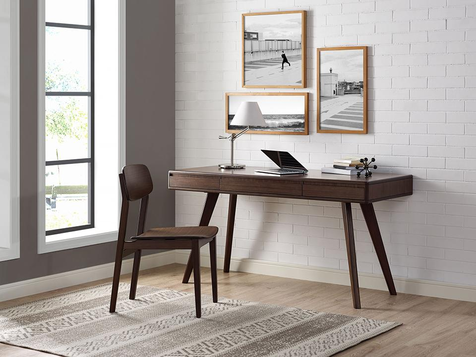 Greenington's Modern and Sustainable Currant Solid Bamboo 3 Drawer Writing Desk in Black Walnut Finish
