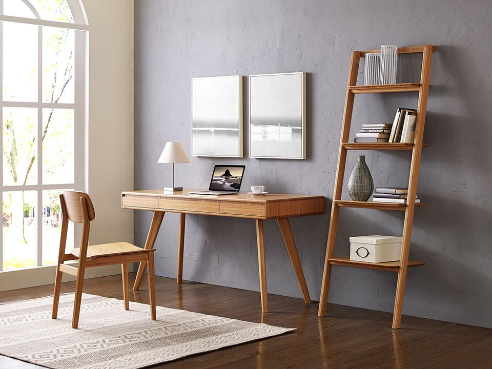 Greenington's Modern and Sustainable Currant Solid Bamboo 3 Drawer Writing Desk in Caramelized Finish