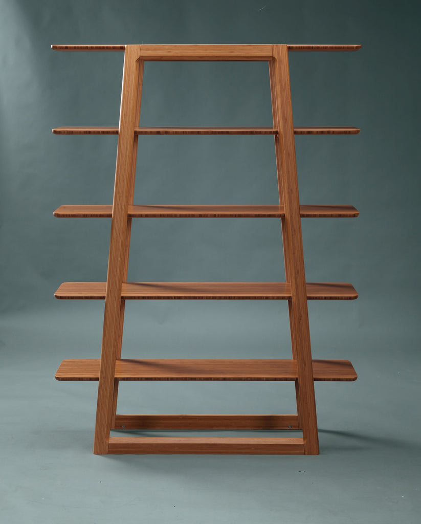 Greenington's Modern and Sustainable Currant Solid Bamboo Shelf Bookshelf in Caramelized Finish