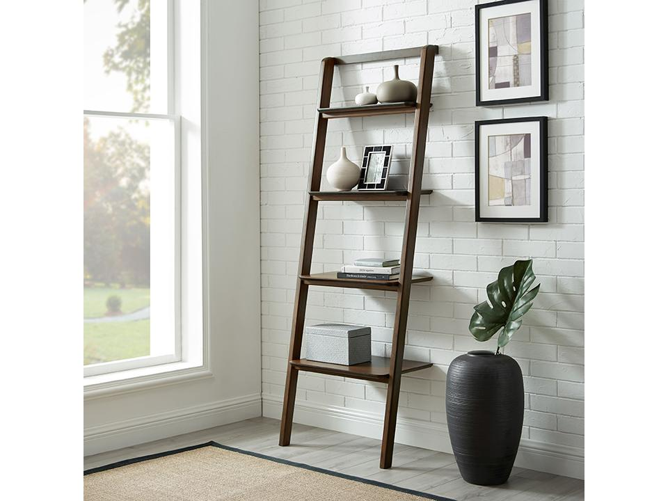 Greenington's Modern and Sustainable Currant Solid Bamboo Leaning Shelf Bookshelf in Black Walnut Finish