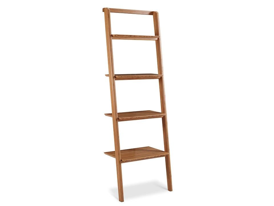 Greenington's Modern and Sustainable Currant Solid Bamboo Leaning Shelf Bookshelf in Caramelized Finish