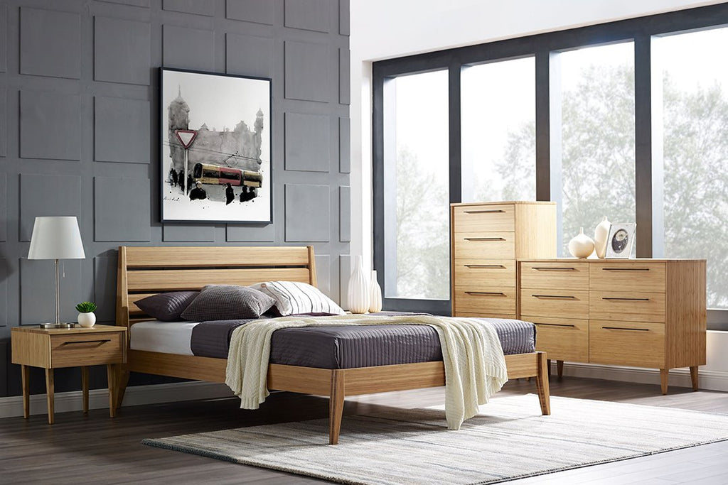 Greenington's Modern and Sustainable Sienna Solid Bamboo Bedroom 5 Drawer High Chest in Caramelized Finish