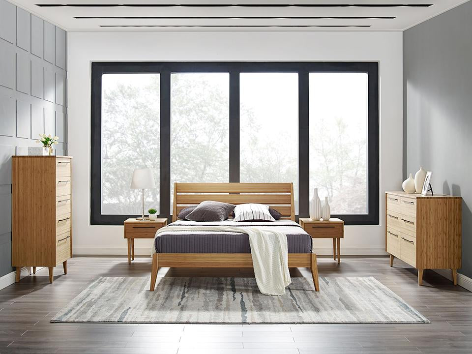 Greenington's Modern and Sustainable Sienna Solid Bamboo Bedroom 6 Drawer Double Dresser in Caramelized Finish