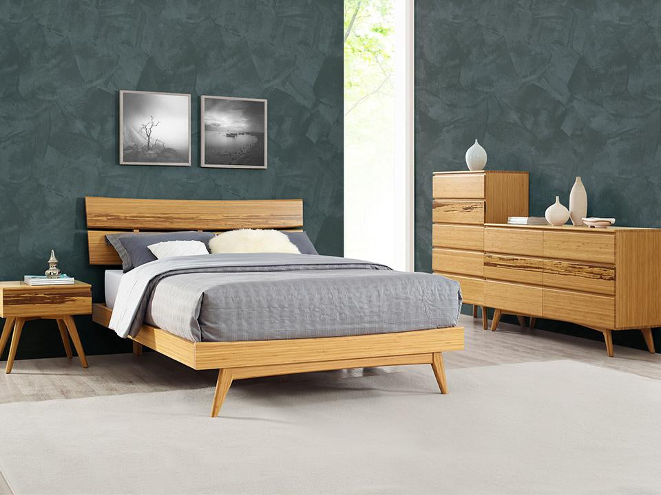 Greenington's Modern and Sustainable Azara Queen Solid Bamboo Platform Bed in Caramelized Finish with Exotic Tiger Accent