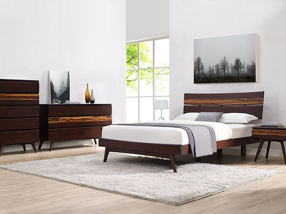 Greenington's Modern and Sustainable Azara Queen Solid Bamboo Platform Bed in Sable Finish with Exotic Tiger Accent