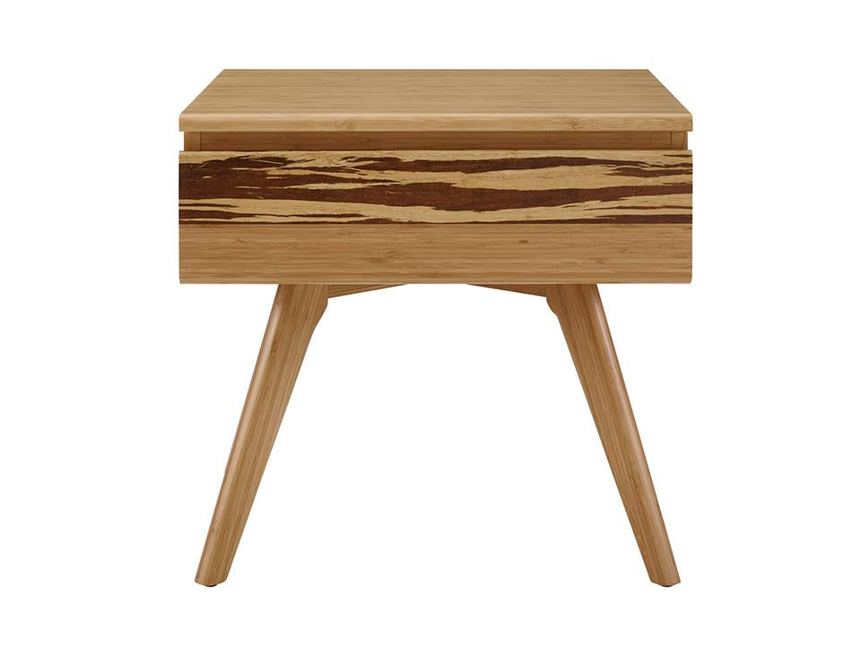 Greenington's Modern and Sustainable Azara Solid Bamboo Bedroom 1 Drawer Nightstand in Caramelized Finish with Exotic Tiger Accent
