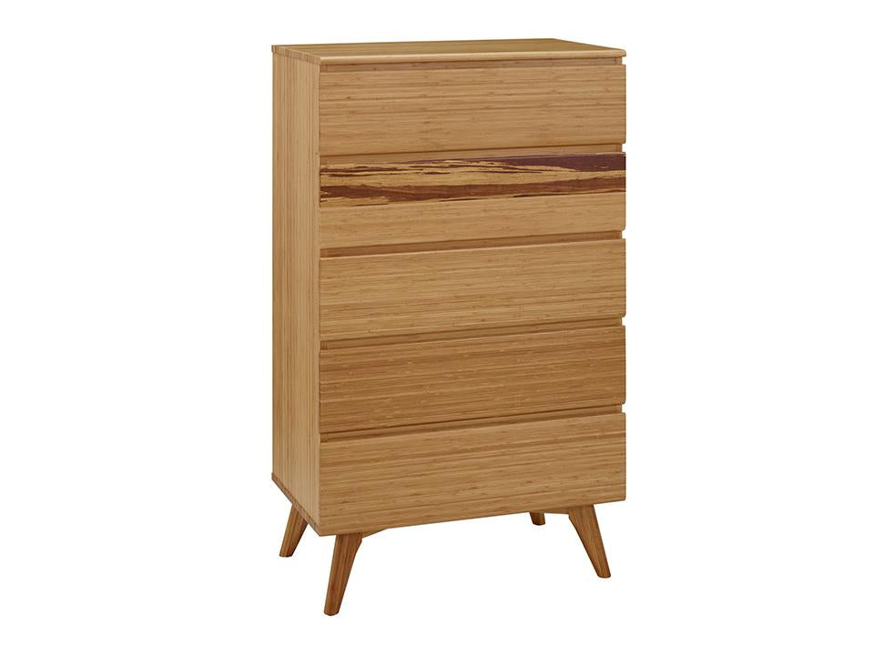 Greenington's Modern and Sustainable Azara Solid Bamboo Bedroom 5 Drawer High Chest in Caramelized Finish with Exotic Tiger Accent