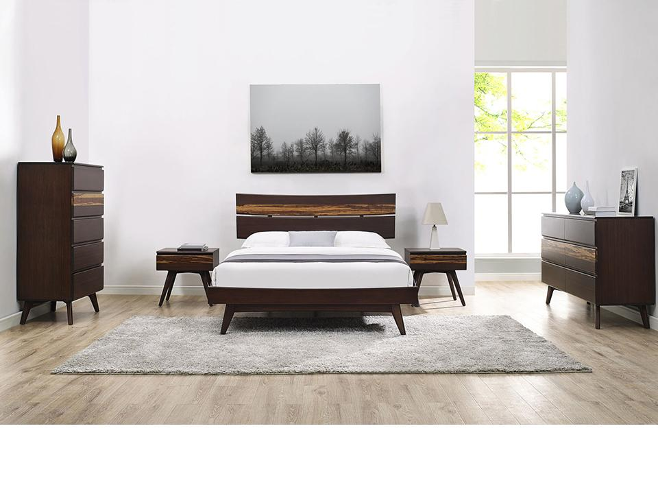 Greenington's Modern and Sustainable Azara Solid Bamboo Bedroom 5 Drawer High Chest in Sable Finish with Exotic Tiger Accent