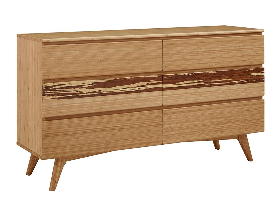 Greenington's Modern and Sustainable Azara Bamboo Solid Bedroom 6 Drawer Double Dresser in Caramelized Finish with Exotic Tiger Accent
