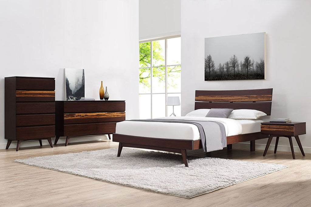 Greenington's Modern and Sustainable Azara Solid Bamboo Bedroom 6 Drawer Double Dresser in Sable Finish with Exotic Tiger Accent