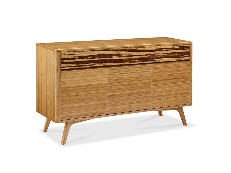 Greenington's Modern and Sustainable Azara Solid Bamboo Dining Sideboard Buffet in Caramelized Finish with Exotic Tiger Accent