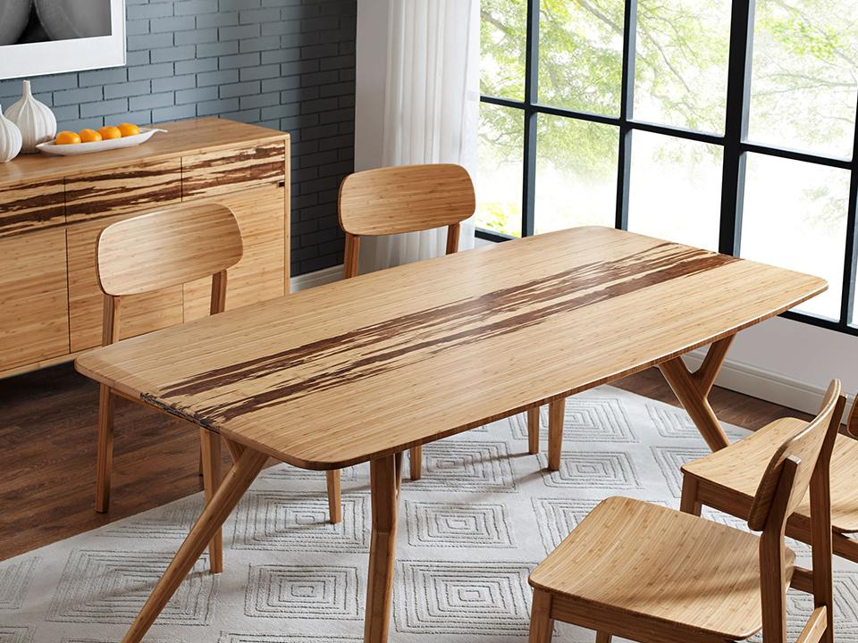 Greenington's Modern and Sustainable Azara Solid Bamboo Dining Table in Caramelized Finish with Exotic Tiger Accent