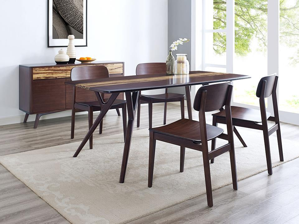 Greenington's Modern and Sustainable Azara Solid Bamboo Dining Table in Sable Finish with Exotic Tiger Accent