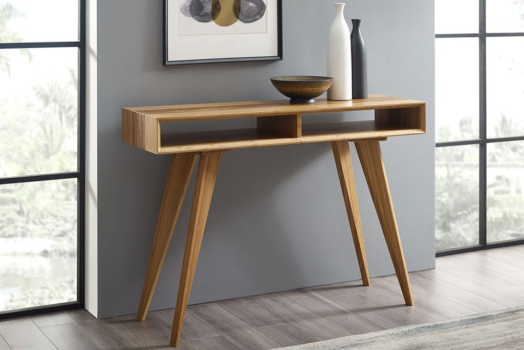 Greenington's Modern and Sustainable Azara Solid Bamboo Occasional Console Table in Caramelized Finish with Exotic Tiger Accent